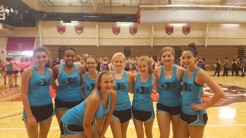 Alton Dance Team in a very cool shade of blue at UDA camp