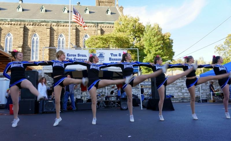 The Marquette dancers showing that you really can do a kickline on pavement